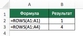 Функция ROWS (ЧСТРОК) в Excel