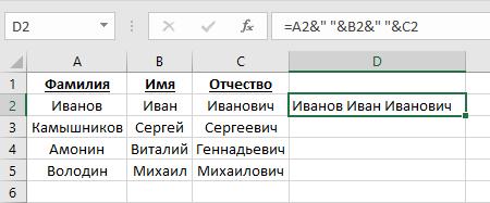 Как объединить ячейки в Excel с помощью символа &