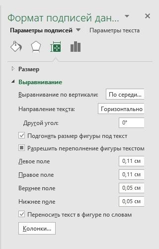 Размер и свойства подписей данных в Excel