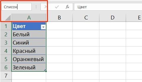 Присвоить имя таблицы в Excel