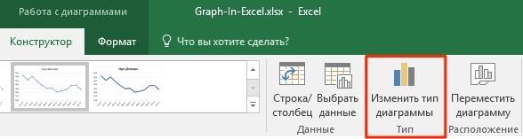 Как изменить тип диаграммы в Excel