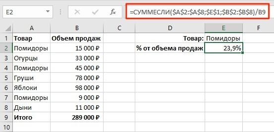 Как вычислить процентнескольких значений от суммы таблицы