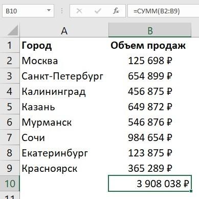 как сложить сумму в столбце Excel с помощью автосуммы