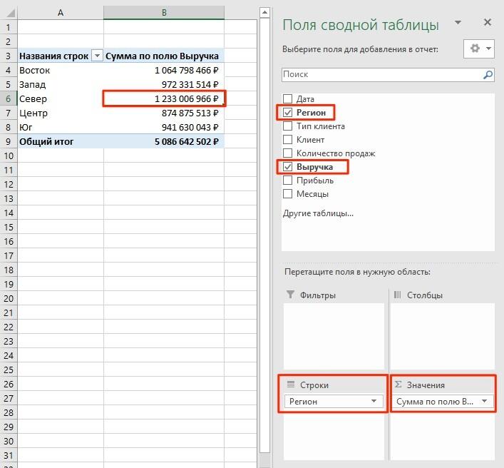 сводные таблицы в Excel пример 1