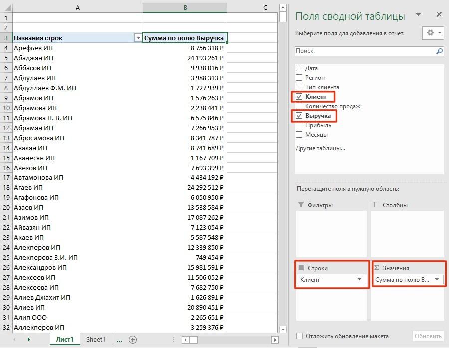 сводные таблицы в Excel пример 2