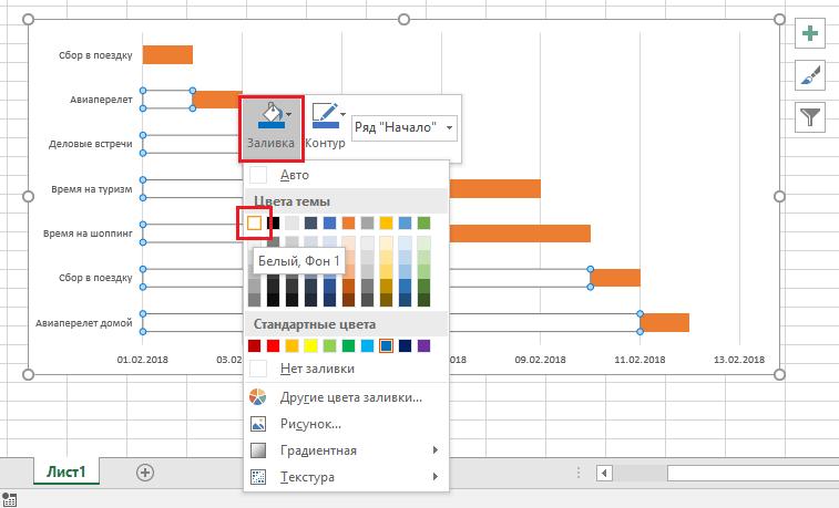 как покрасить в прозрачный цвет диаграмму