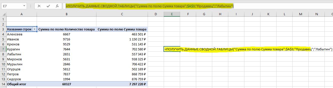 получить данные сводной таблицы - 1